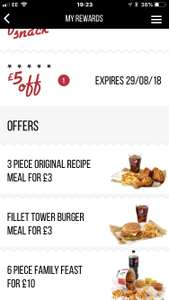 New KFC Colonels Club Offers : 3 piece original meal £3 / Fillet Tower burger meal £3 / 6 piece family feast £10