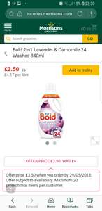 Bold 2in1 24 washes 840ml £3.50 usually £6.00 @ Morrisons