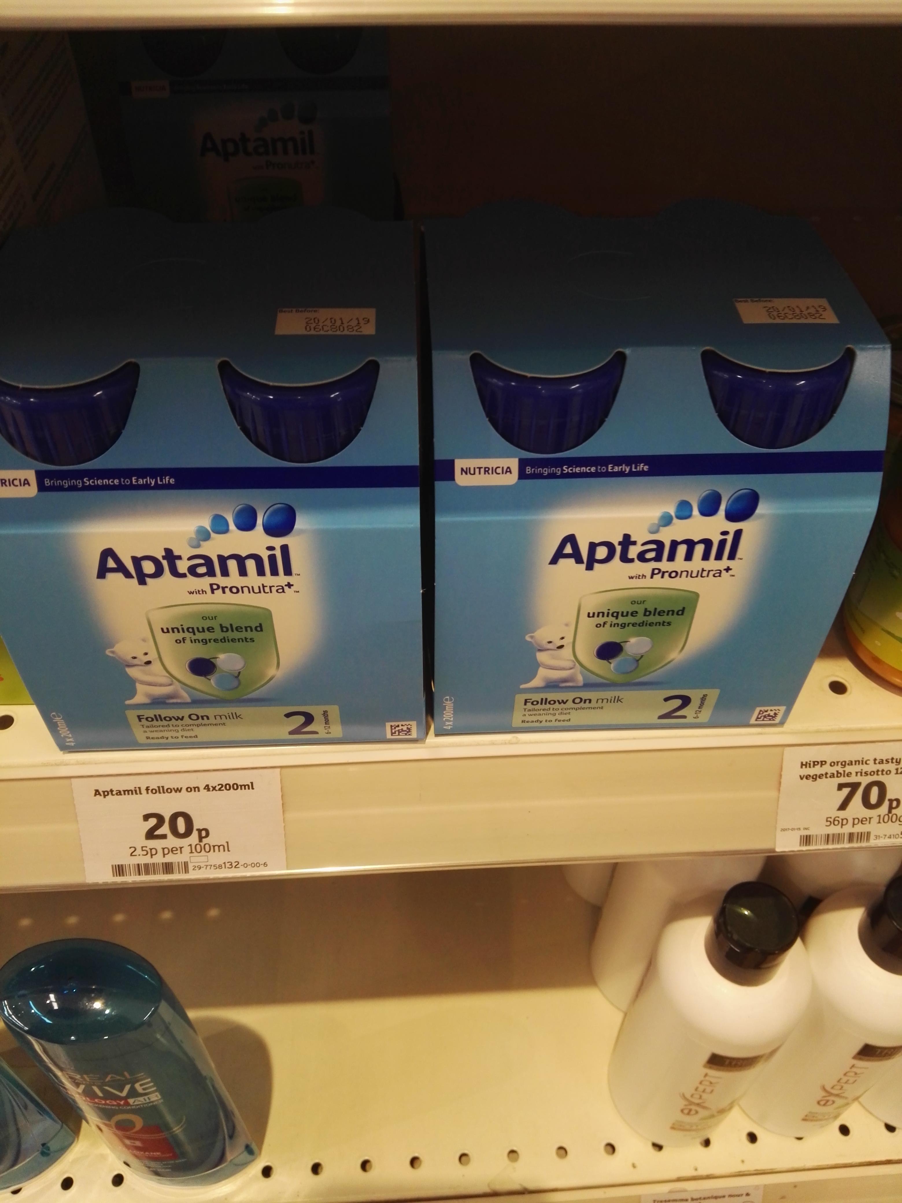 Aptamil follow on milk 4x200ml 20p @ Sainsbury's instore