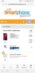 Huawei P20 Pro 128GB Black+ 50GBData+ UnlimitedMinutes+ UnlimitedTexts ON O2  £45 p/m month 24 months £1080 @ Smartphone company - £168 cashback