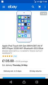 New ipod touch 6th gen 32gb £138 delivered @ ebay tesco direct