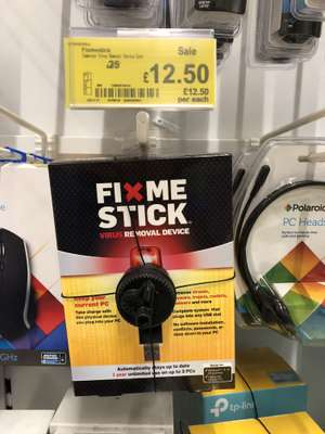 FixMeStick LifeTime Virus Removal For PC / Laptop Windows 10-8-7-XP-Vista UPTO 3 PCs was originally £50 then £25 & now reduced to clear for £12.50 @ Asda