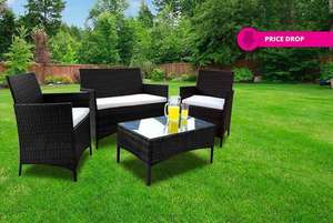 4pc Rattan Outdoor Garden Furniture Set £128.98 Delivered @ wowcher