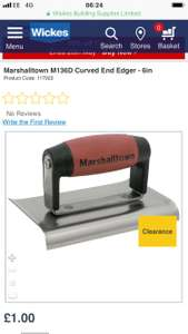 Marshalltown M136D Curved End Edger £1 at  Wickes - free c&c