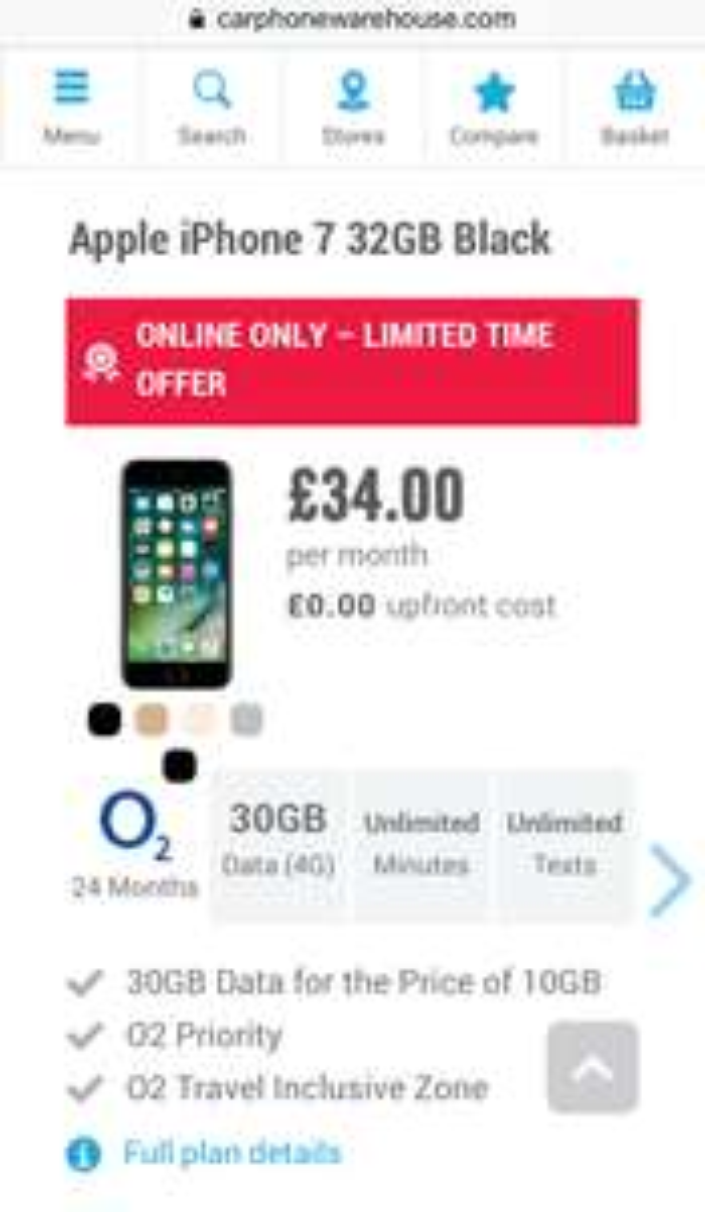 o2 32GB iPhone 7, 30GB/Unlimiteds £34pm (o2 DIRECT is £1267.99) @ carphonewarehouse