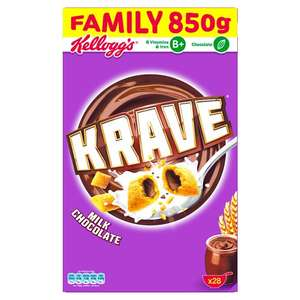 Kelloggs Krave Milk Chocolate Cereal 850G & Kelloggs Krave Chocolate Hazelnut Cereal 850G £2.50 Tesco