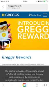 Greggs Free Coke Zero sugar free with APP and other perks like free coffee