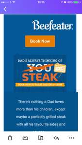 Grab a FREE* steak this Father's Day! At Beefeater 6oz flat Iron *Good if you are planning on going. Offer based on another main meal purchase