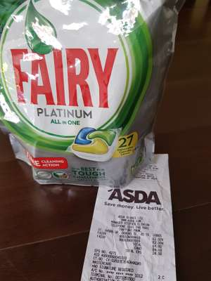Fairy Platinum All In One Dishwasher Tablets 27 Pack £2 @ Asda - Trafford Park