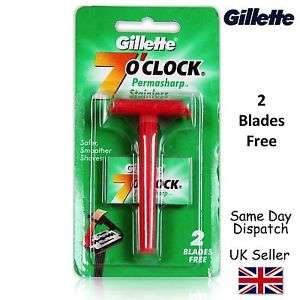 GENIUNE GILLETTE 7'O Clock PERMASHARP STAINLESS SAFETY RAZOR & 2 BLADES UK Seller £2.98 @ herbalhouse / Ebay
