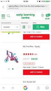 My First Bike - Spotty age 3-5 years 50% off ELC Mothercare & free delivery