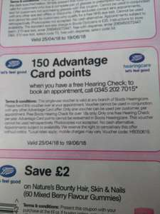 Free hearing test and 150 Boots advantage card points