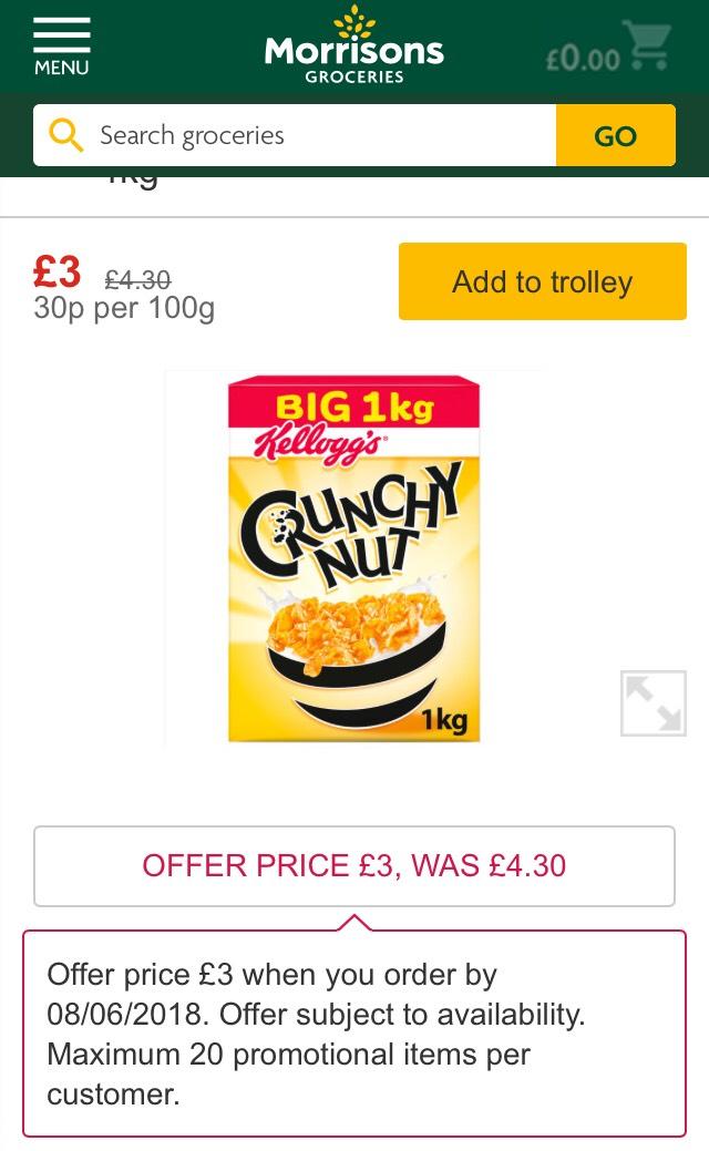 Crunchy nut Cereal 1kg - £3 at Morrisons