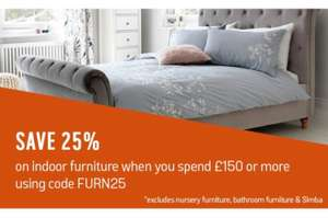 25% off indoor furniture over £150 when using code at Argos