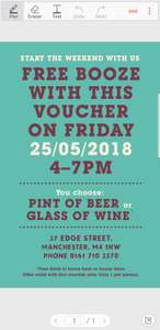 Free pint of beer or glass of wine with voucher 25/05/18 4-7pm  at Yard and Coop, Manchester