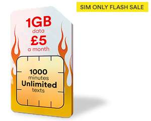 1GB 4G Data - 1000 Minutes - Unlimited Texts - 12 Month Sim (£60 for 12 Month) @ Virgin Mobile