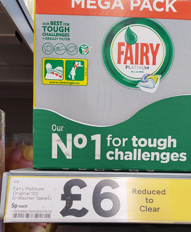 Fairy Platinum dishwasher capsules x120 £6 in-store @ Tesco