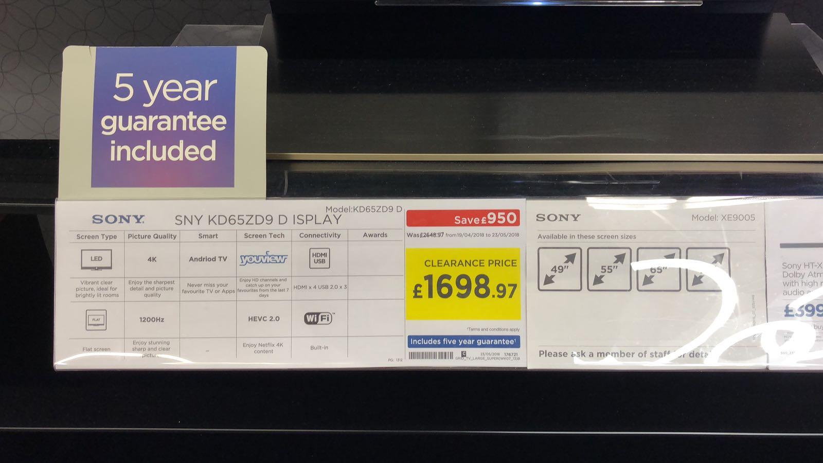 Sony 65 inch kd65zd9 £1698.97 @ Currys in Croydon