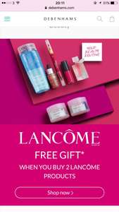 Lancome free gift - when you purchase two or more Lancôme products  @ Debenhams