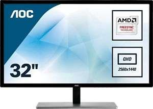 AOC Q3279VWF 31.5 inch QHD LED Monitor - 2560 x 1440, 5ms, FreeSync, £188.95 at CCL/ebay