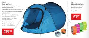 Pop-Up Tent 2 Person - Unpack & Throw -£19.99  - NEON Duct Tape for Tent Identitification - £1.79 - LIDL