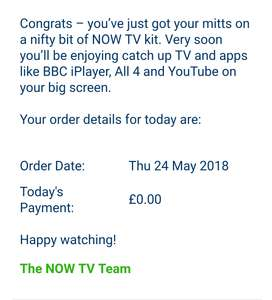 FREE Now TV stick check your emails.