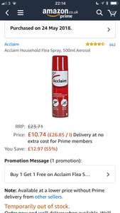 Acclaim Household Flea Spray 500ml FREE @ Amazon