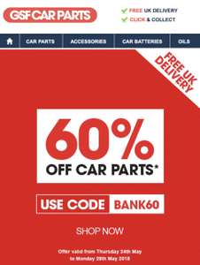 60% off @ gsf car parts
