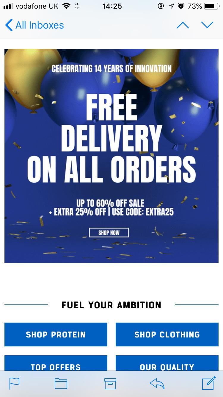Myprotein sale + 25%off +FREE DEL+15% cashback