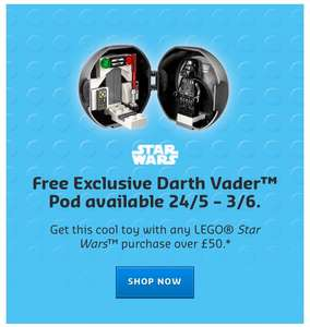LEGO® Star Wars™ Darth Vader Exclusive Pod - FREE with Lego Star Wars orders over £50 @ Lego Shop