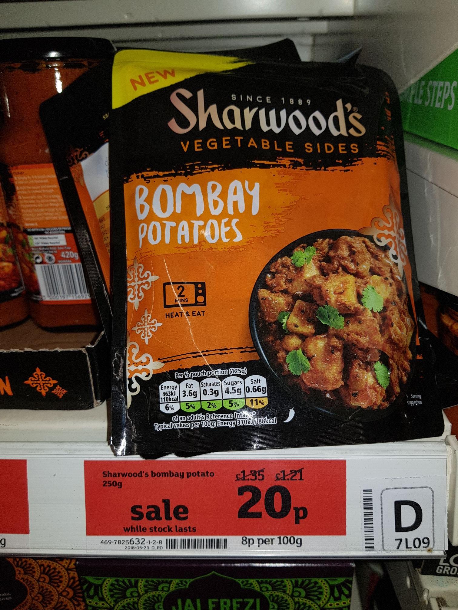 Sharwood Bombay potatoes 20p at Sainsbury's Worcester blackpole