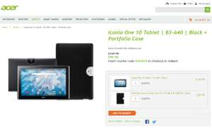 """Acer Iconia One 10"""" Tablet Black + Portfolio Case, Now £99.98, Insert voucher code ICONIA70 at checkout to redeem"""