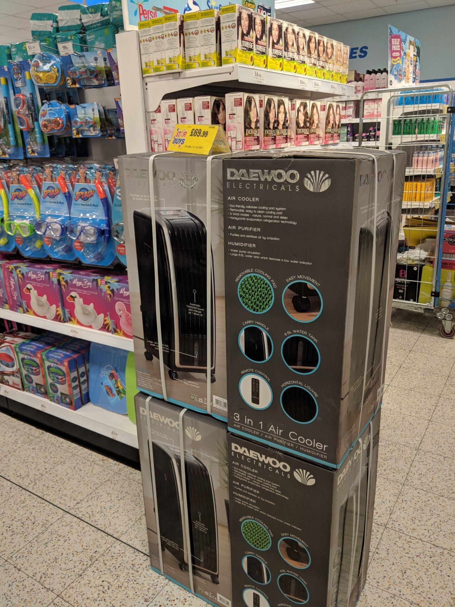 Daewoo Portable 6.5L 4-in-1 Air Cooler, Fan Heater, Air Purifier & Humidifier - BLACK 69.99 instore @ home bargains