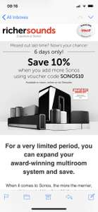 Sonos Play 1 £125.10 and 10% off all other Sonos with code at Richer Sounds