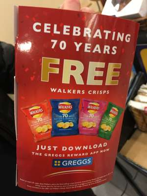 NOW LIVE - FREE Walkers Crisps @ Greggs with app