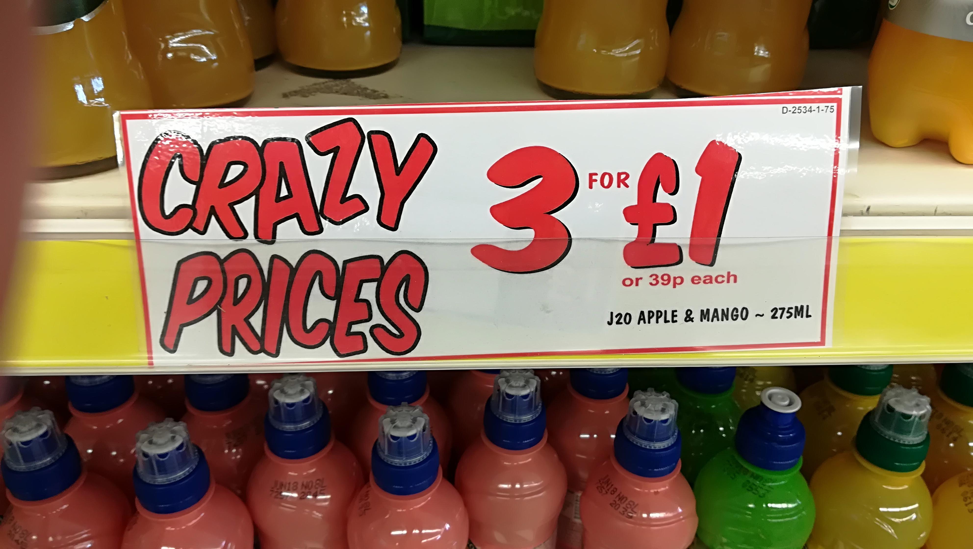 J2O various varieties - 3 bottles for £1 @ Fultons Foods (Other deals in the OP)