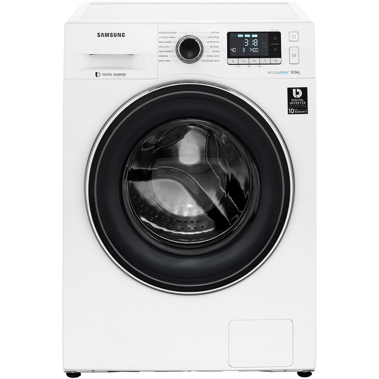 Samsung Ecobubble WW90J5456FW 9Kg Washing Machine with 1400 rpm - White - £359 with code @ ao.com