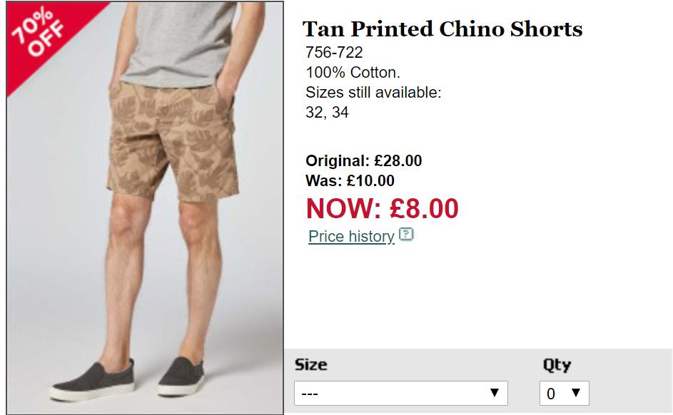 Tan Printed Chino Shorts for £8 free c & c @ Next Sale