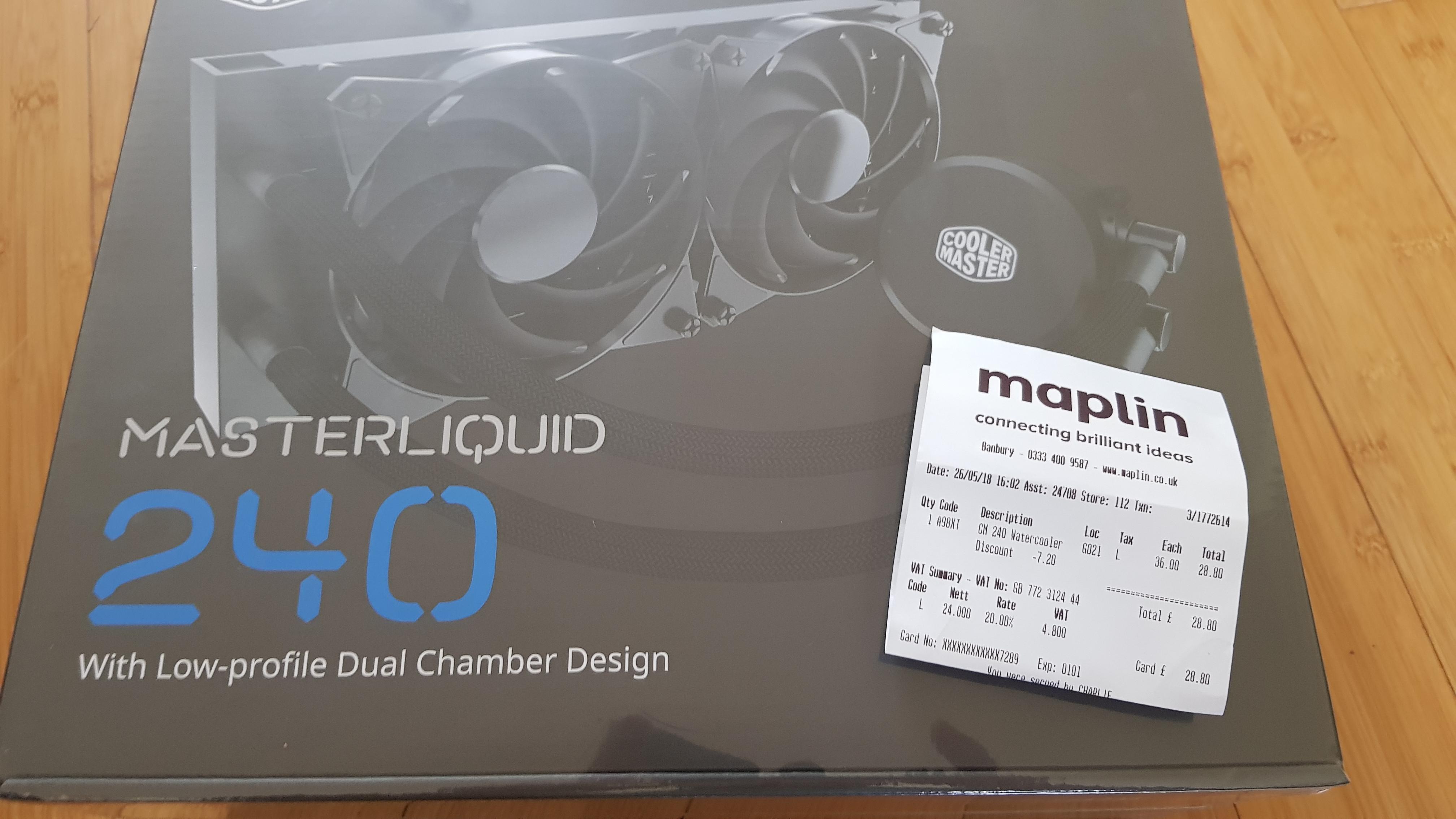 Cooler Master Masterliquid Lite 240 AIO CPU Cooler  £28.80 instore MAPLIN
