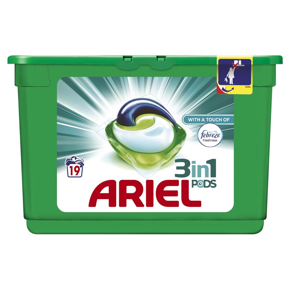 Ariel 3 in 1 Liquid Tablets Febreze 19 Washes £3 @ wilkos