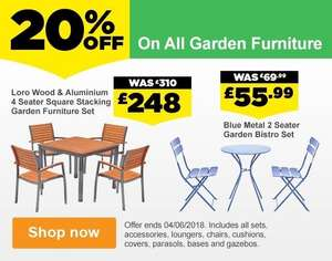 Homebase 20% offer on all garden and conservatory furniture