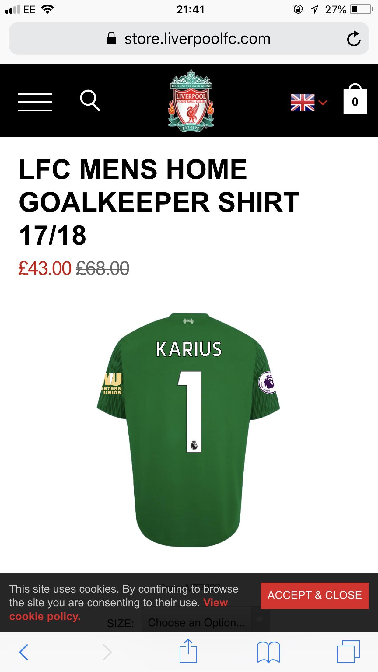 LFC MENS HOME GOALKEEPER SHIRT 17/18 Karius - £40 (or £25 unpersonalised) @ Liverpool FC Store