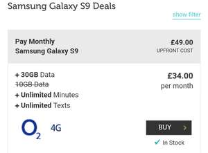 Samsung Galaxy S9 with Unlimited minutes/texts and 30GB of data on O2 @ MobilesPhoneDirect £34pm + £49up front