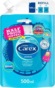Carex antibacterial hand wash 500ml eco refill 99p Home bargains PLUS Alton towers sealife half price entry