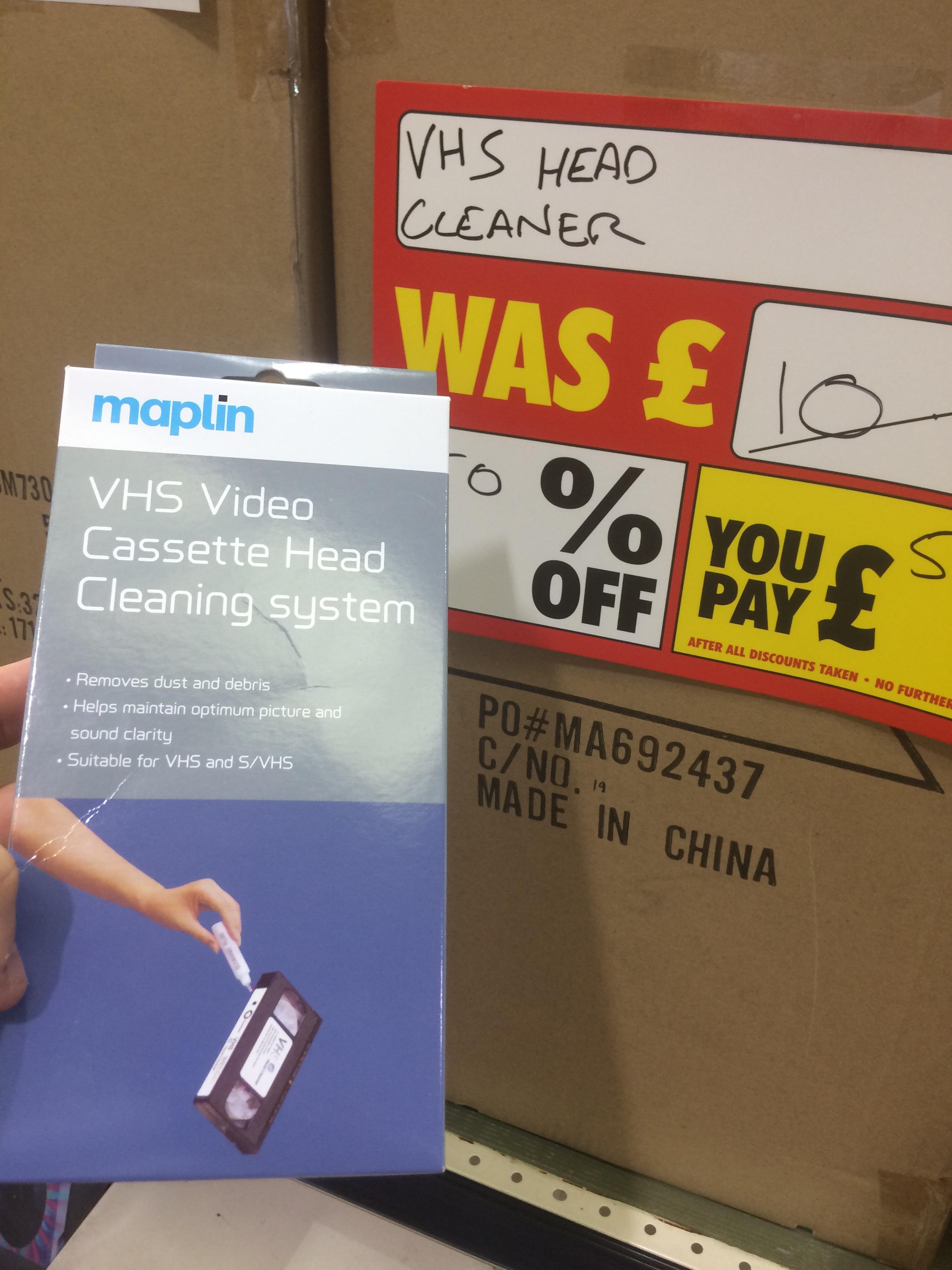 Maplin VHS head cleaner £5 - Lakeside Essex