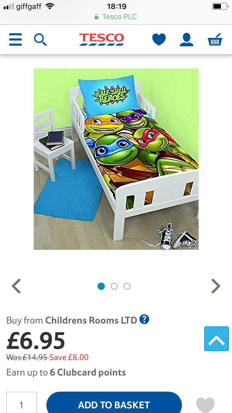 Various kids junior duvet sets (120 x 150) reduced at Tesco Direct - £6.95 (C&C)