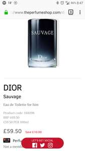 Dior Sauvage 100ml EDT £59.50 - The Perfume Shop