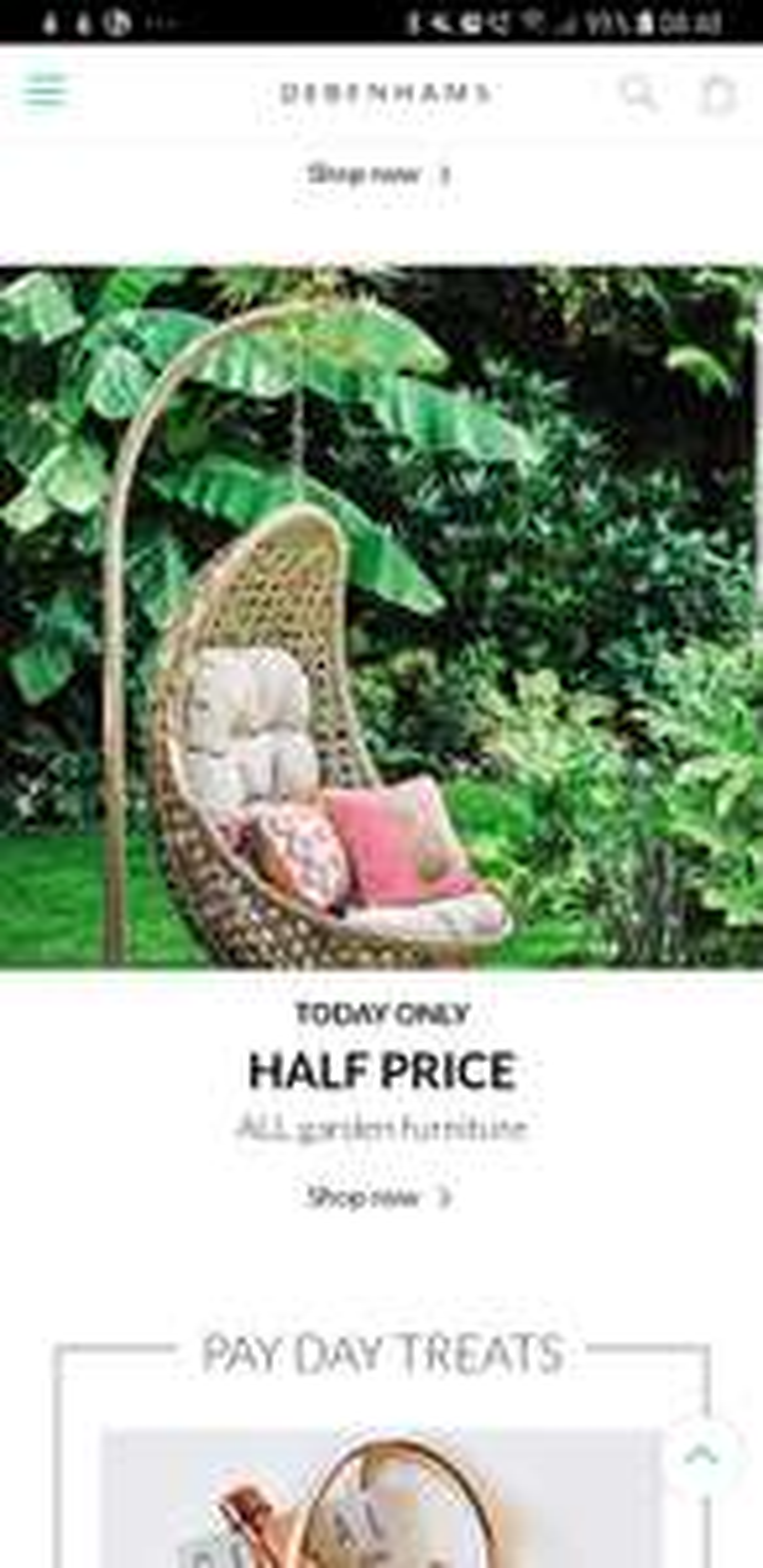 Half Price on all garden furniture at Debenhams