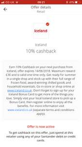10% cashback at Iceland with Santander 123 account. Check your app