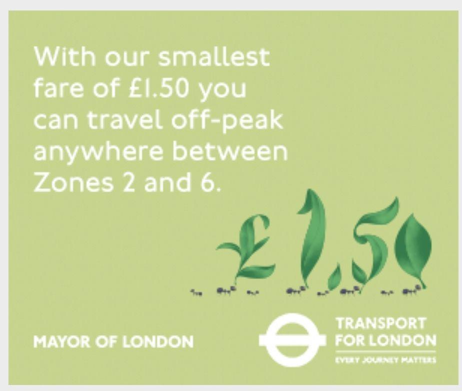 Explore London from £1.50 - TFL single off peak fare zone 2 to 6